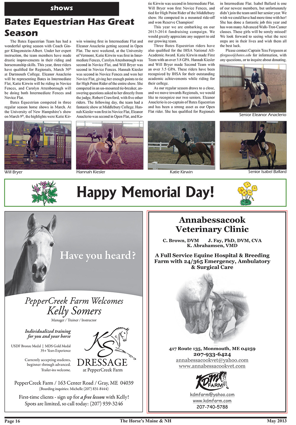 Horses Maine May Issue-16