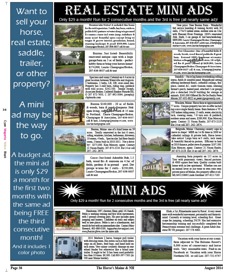 August Page 36: Mini Ads – Horse's Maine & New Hampshire